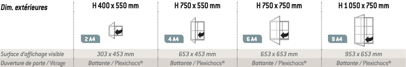 dimensions disponibles de la vitrine d'affichage intérieur référence