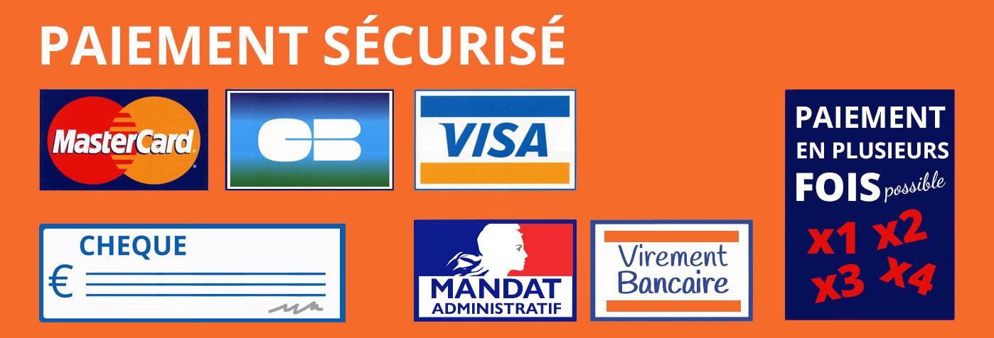 logo de paiment visa, carte bleue, virement bancaire